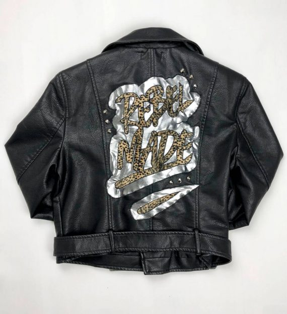 rebel made text on leather jacket
