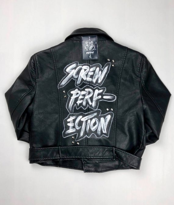 Screw Perfection Text Print on Leather Jacket